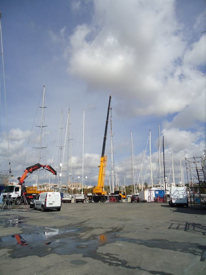 Preparations for the unstepping of Starry Night Yacht rig