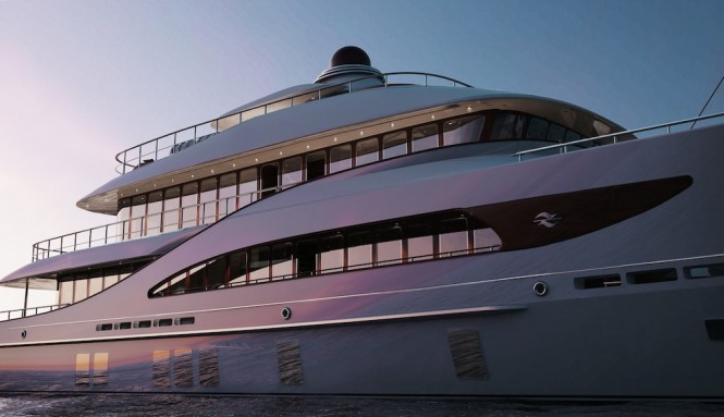 Rendering of explorer yacht Z164 by Zeelander