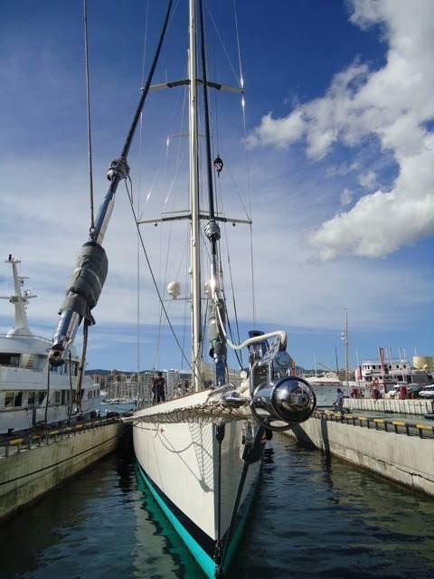 Royal Huisman super yacht Kamaxitha at STP shipyard in Palma, Spain