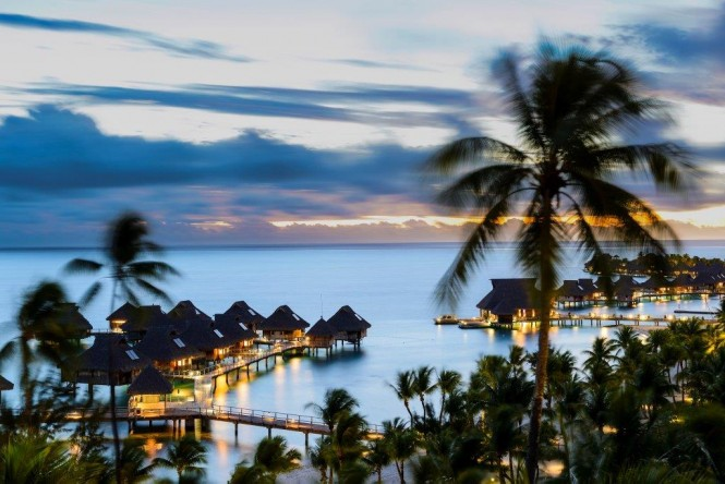 The Islands of Tahiti after sunset