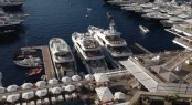 Three luxury superyachts by Sunseeker on display at the 2014 Monaco Yacht Show