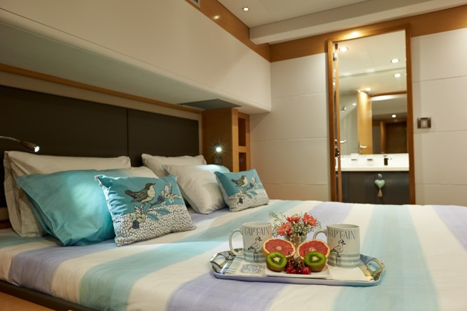 Victoria 67 charter catamaran LIR suite - Photo credit LIR Yacht