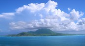View of the Caribbean island Nevis from St Kitts