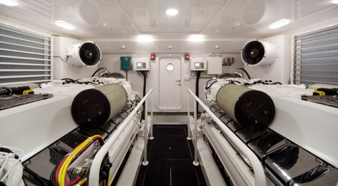 Engine room of the new Viking 92 Enclosed Bridge Convertible yacht