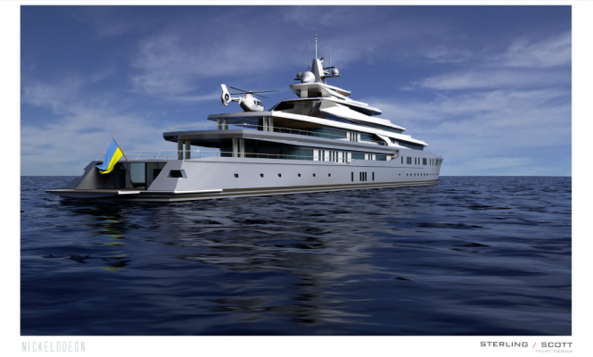 127m super yacht NICKELODEON concept - aft view
