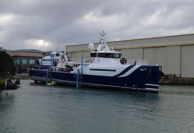51m Damen Sea Axe Shadow Support Yacht UMBRA before her refit at Oceania Marine