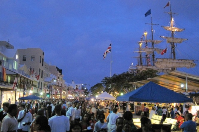 A crowded Front Street - Photo by Bermuda Tourism