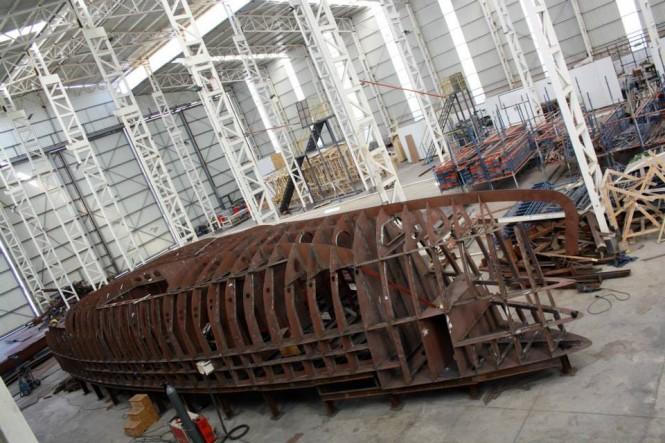 Bering 70 yacht's steel hull