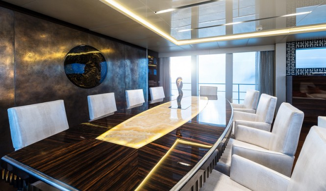 Flying Dragon superyacht - dining - Image credit to AB Photodesign