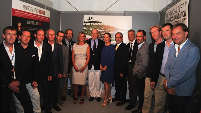 HSH Prince Albert II of Monaco with Wood Forever Pact Partners at MYS 2014 - Photo copyright Alberto Colman www yachtpublicity com