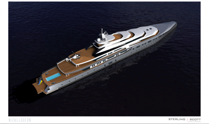 Luxury motor yacht NICKELODEON project from above
