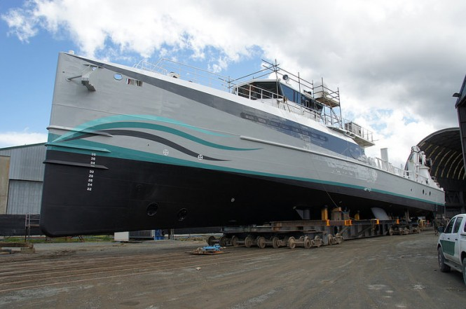 Luxury yacht support vessel Umbra ready to be re-launched