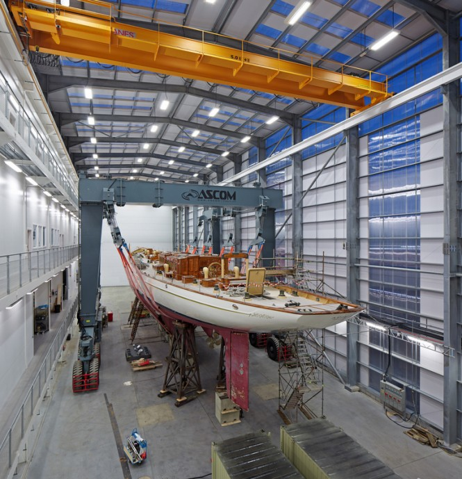Mega yacht ADIX in a new hall at Pendennis in Falmouth, UK