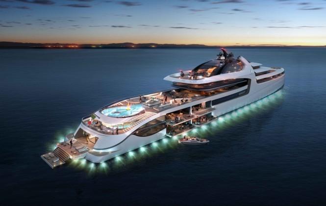 Mega yacht X-Force 145 - Stern