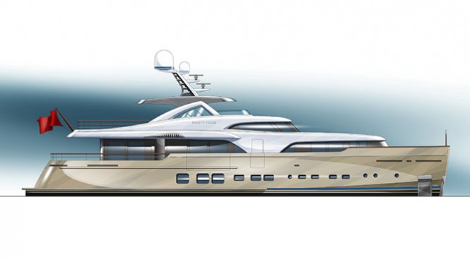 Rendering of the 34m super yacht BN 100 by Mulder Shipyard