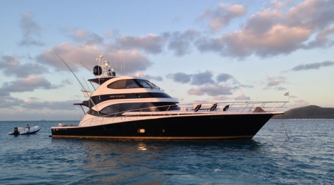 Riviera 70 Enclosed Yacht Born to Battle certainly has a commanding presence