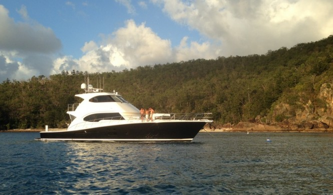 Riviera Flagship 75 Enclosed Flybridge yacht Seabreeze has a confident poise