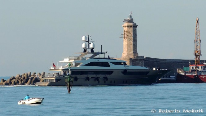 Sanlorenzo 46Steel superyacht Trident entering the port of Livorno in Italy