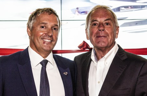 Sunseeker London's Managing Director David Lewis (L) with Limassol Marina CEO Andreas Christodoulides and Sunseeker Group President Robert Braithwaite (R)