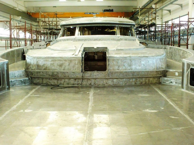Super yacht WIDER 150 under construction at Wider Yachts in Ancona, Italy
