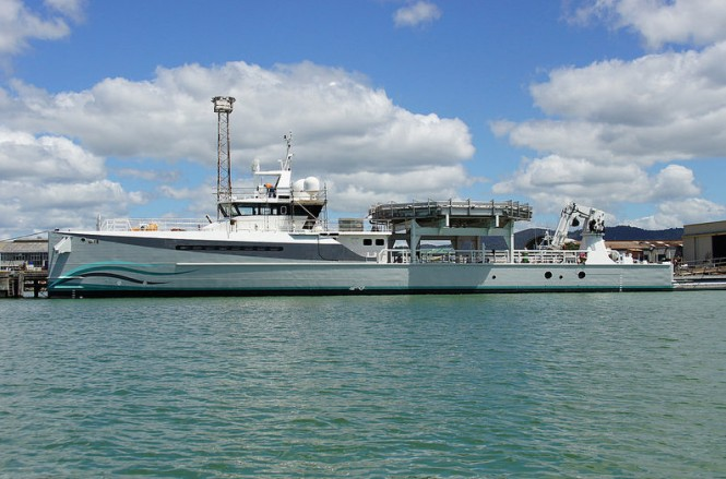 Superyacht support vessel Umbra with helideck - side view
