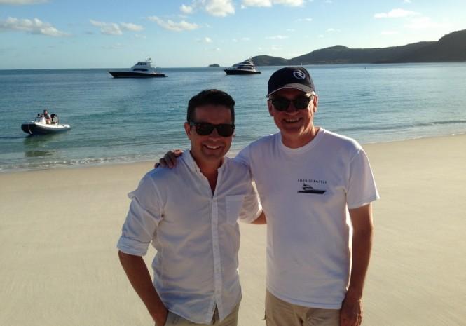 TV celebrity Steve Jacobs and Riviera's Stephen Milne explore the pristine beach
