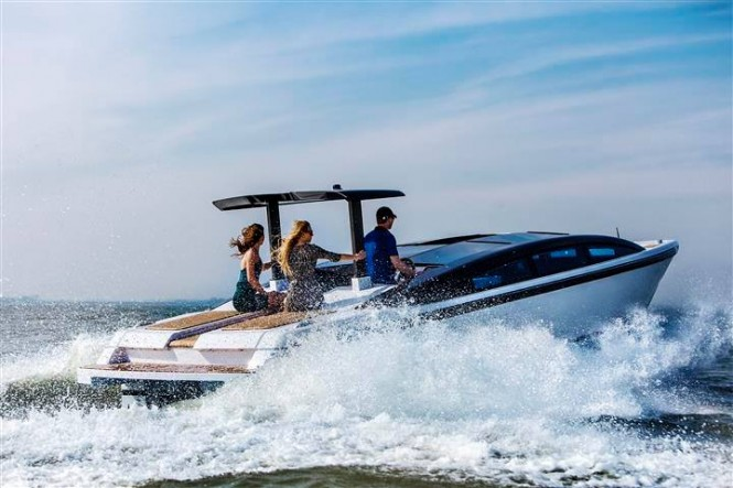 Tender to luxury yacht YALLA at full speed