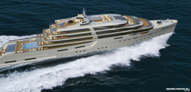 140m luxury yacht IPI140 concept from above