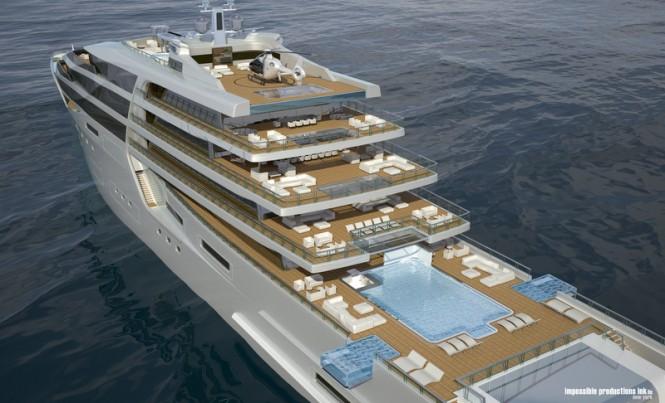 140m motor yacht IPI140 concept - aft view