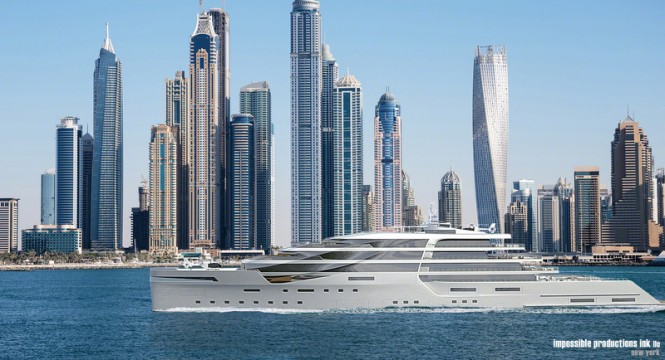 140m super yacht IPI140 concept underway