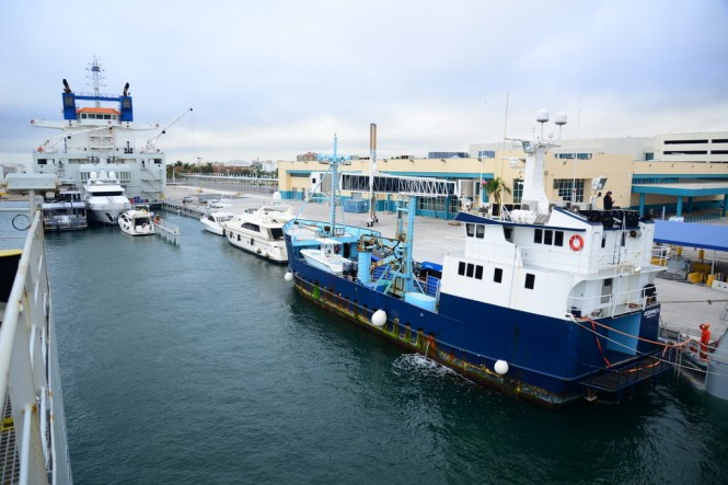 DYT Yacht Transport's Yacht Express submerges in Port Everglades, Fla. to allow its cargo of yachts, including the 126-foot research vessel M/V OCEARCH (blue hull), to float on. OCEARCH is on its way to Brisbane, Australia. (photo credit Tom Serio Photography).