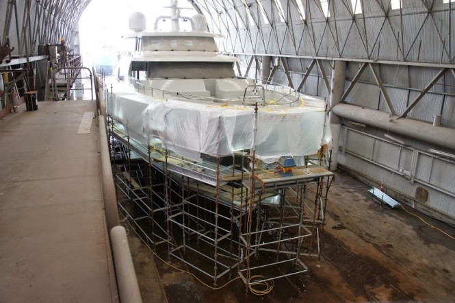 31,5m super yacht Black Pearl under refit at Oceania Marine - Image credit to Oceania Marine