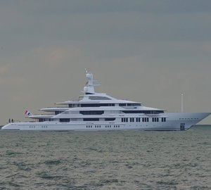Photo of 88,5m Oceanco motor yacht Y710 anchored in the North Sea