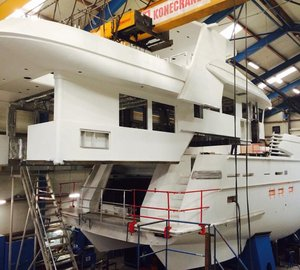 Hull and superstructure of Drettmann Explorer 24 Yacht joined together