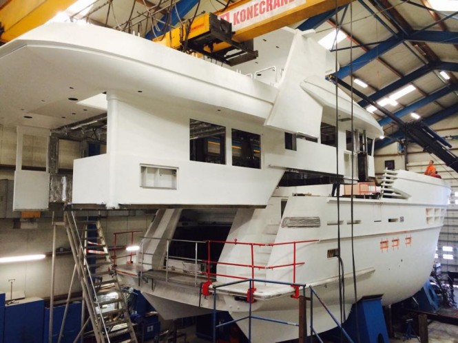Hull and superstructure of Drettmann Explorer 24 superyacht being put together - Image credit to Acico Yachts