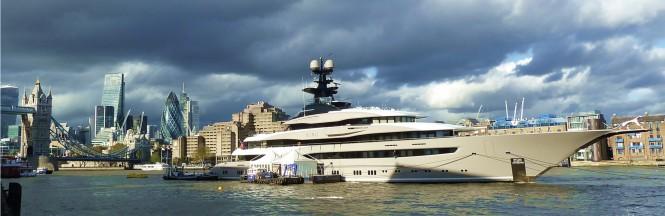 Luxury mega yacht KISMET on Thames