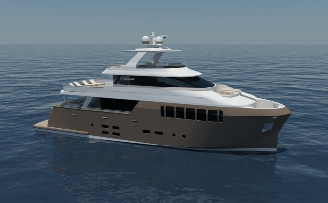 Luxury yacht 31 Explorer - side view