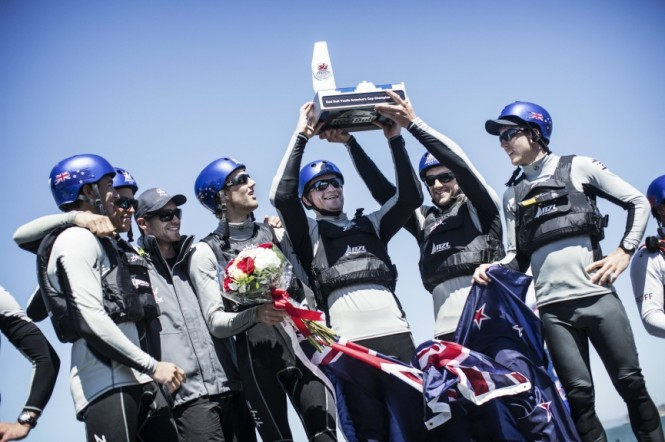 Members of NZL Sailing Team with ETNZ of New Zealand celebrate after winning the Red Bull Youth Americas Cup in San Francisco, California on September 4, 2013 - Image by redbullcontentpool.com