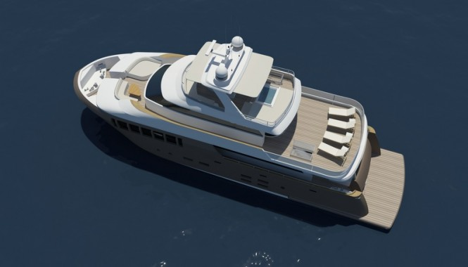 Motor yacht 31 Explorer from above