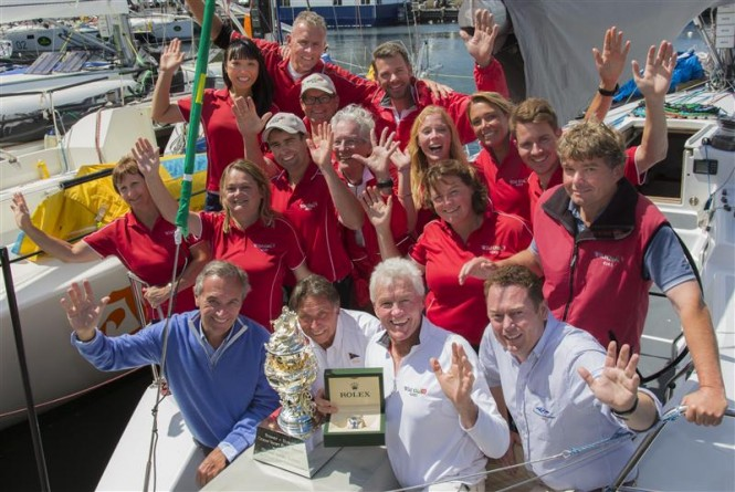 Overall Winner, Roger Hickman and sailing yacht WILD ROSE crew - Photo by Rolex Daniel Forster