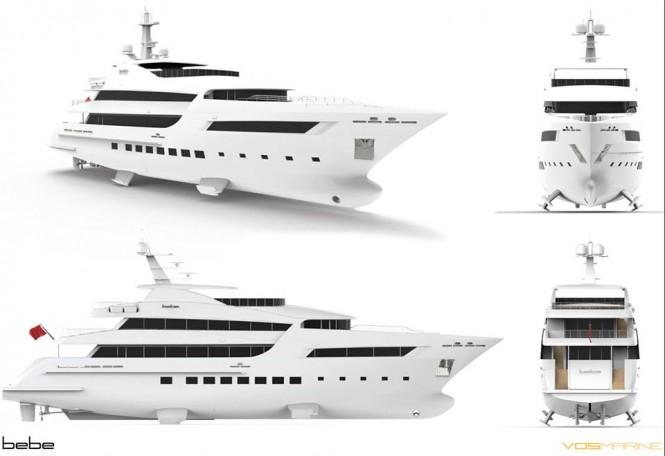 Renderings of the 47m superyacht BEBE - Image credit to Vosmarine