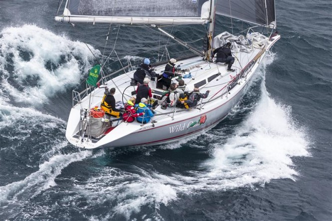 Roger Hickman's WILD ROSE (AUS) sailing to win the 70th Rolex Sydney Hobart