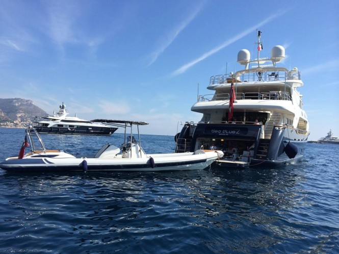 Scorpion 98 Chase Boat and mothership superyacht Sea Bluez at the 2014 Monaco Yacht Show