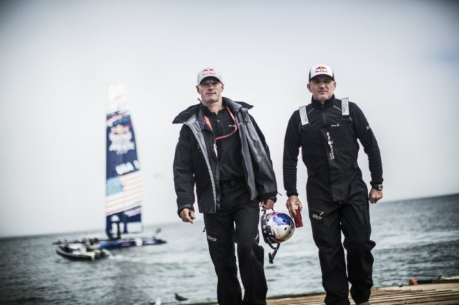 Sports directors Roman Hagara and Hans Peter Steinacher of Austria attend the speed trial of the Red Bull Youth America's Cup in San Francisco, California on August 31, 2013 - Balasz Gardi Red Bull Content Pool