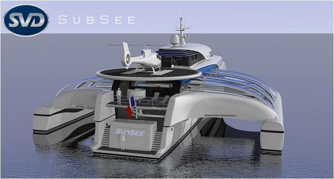 Subsee Yacht Concept - Helideck located afterwards can accomodate a wide variety of civilian aircrafts
