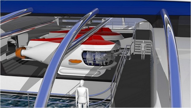 Subsee superyacht concept - Main deck with subs