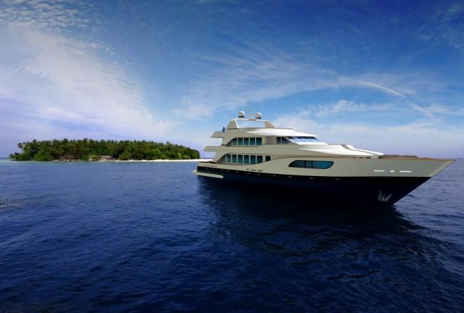 Superyacht MY Legacy at Kuda Bandos Island  'Picnic Island' - a fabulous Maldives yacht holiday destination