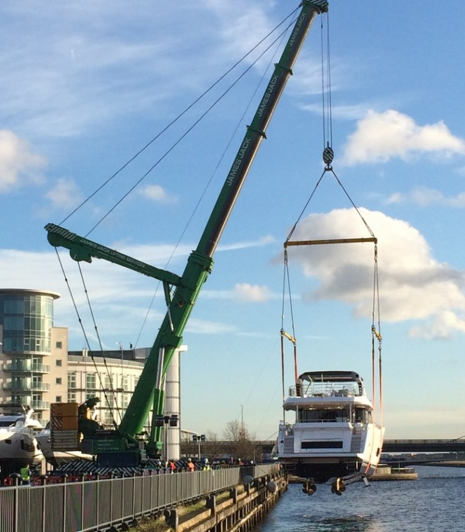 The arrival of first luxury yachts to be displayed at the 2015 CWM FX London Boat Show