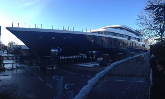101m Superyacht Hull 808 by Feadship at launch - Photo by Feadship Fan Club