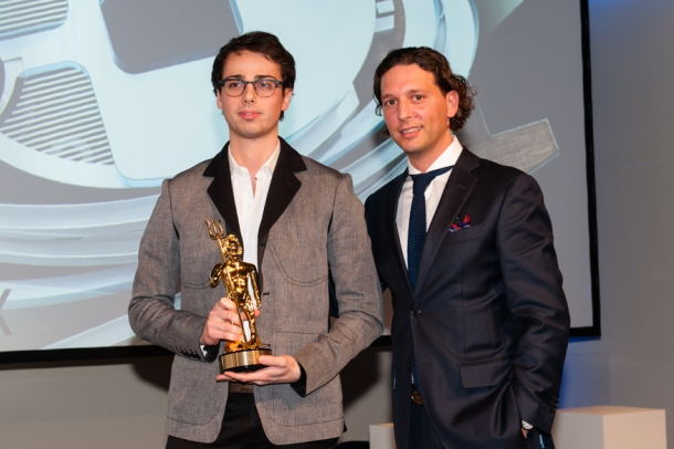 2014 Winner Raphael Laloux collects his prize on stage at the ShowBoats Design Awards 2014